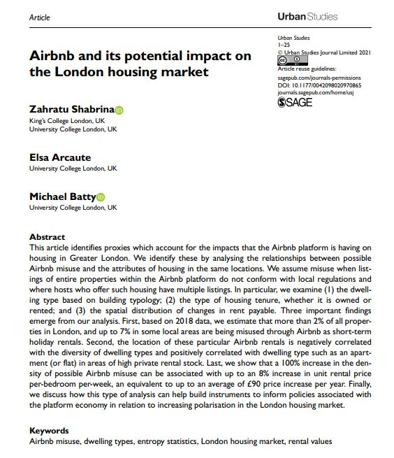 What is the potential impact of #Airbnb use and Airbnb misuse on the #LondonHousingMarket?  @zarashabrina