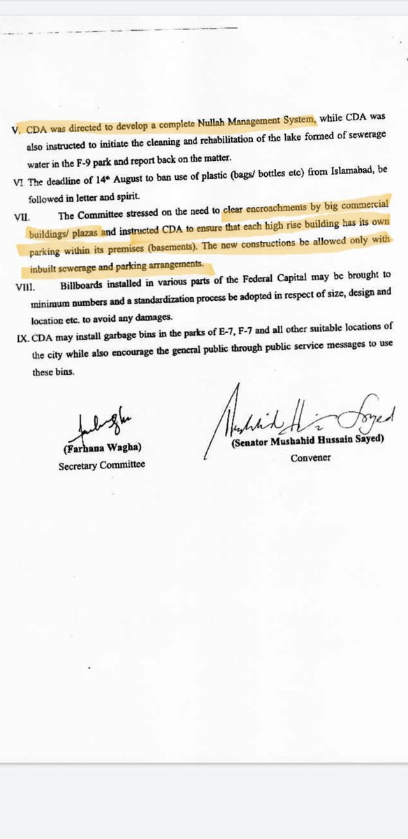 @SenatorSitara #ClimateChange committees in @SenatePakistan, @NAofPakistan always talk about essential issue. BUT NO ACTION!  Example: In May 2019, @Mushahid made key recommendations like cleaning nullahs, clearing #CarParking #encroachments, buildings having basement #CarParking, etc