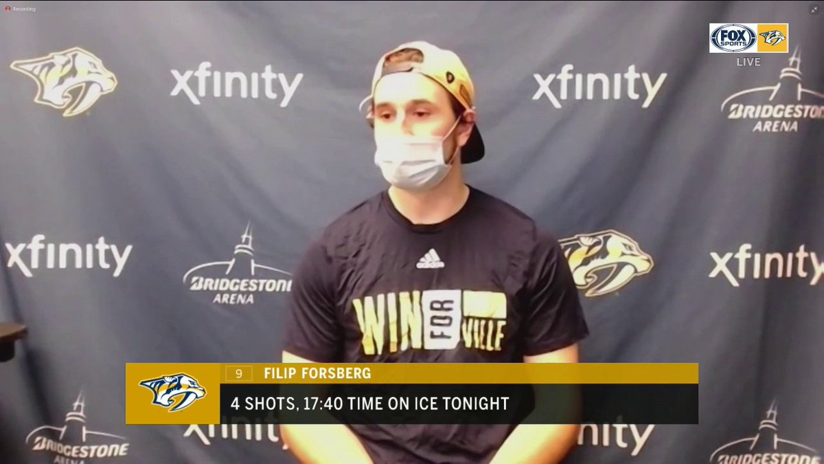 """We had chances. We just have to bury them.""  -Filip Forsberg on the opportunities missed early in the game.  @PredsNHL 