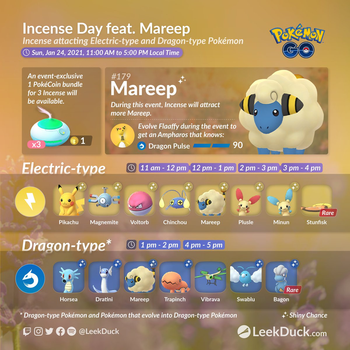 Incense Day featuring Mareep - Event Overview  • Different Pokémon will be attracted to Incense at different times.  • Incense will last 1 hour (not increased)  Full Details: