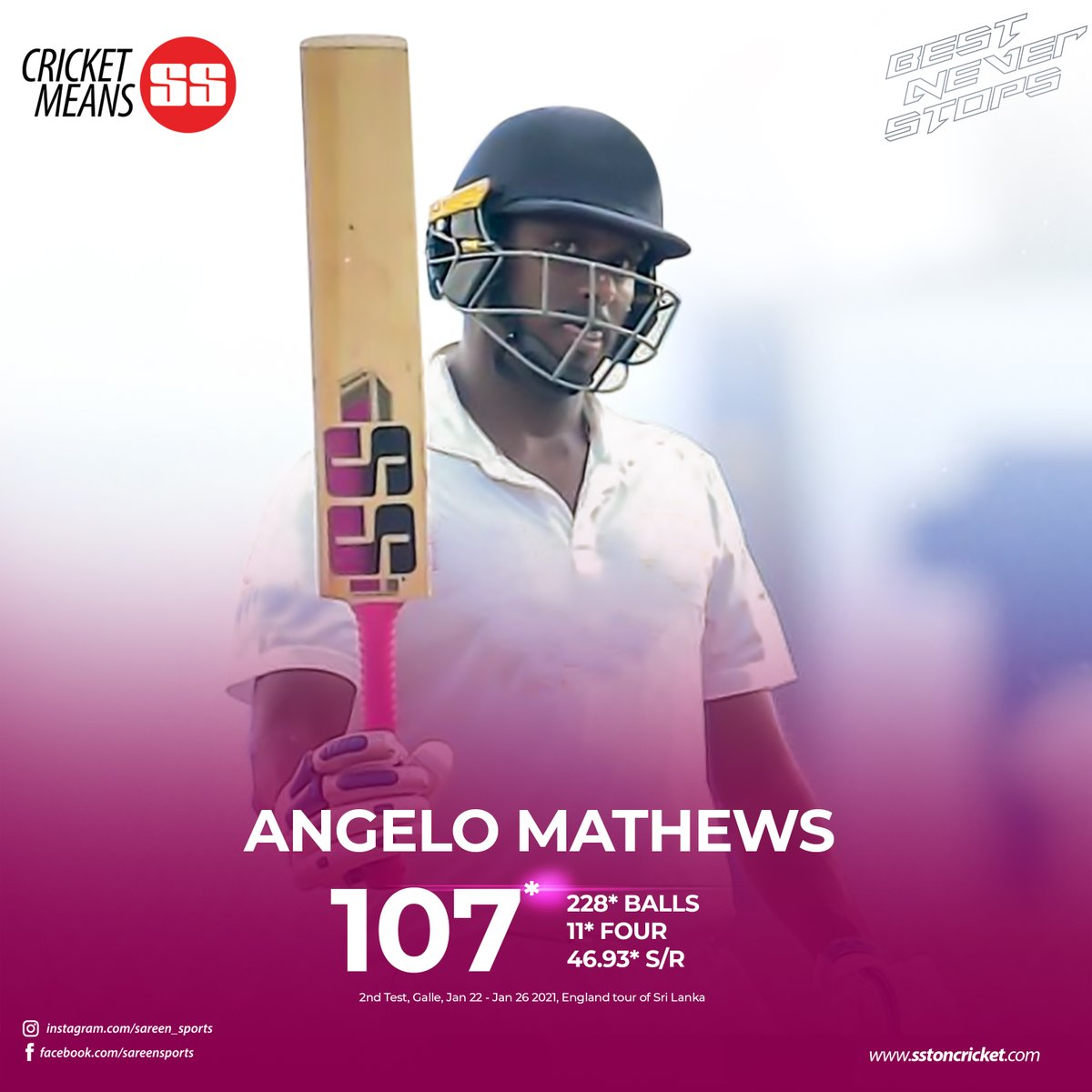 Angelo Mathews hits century on first day of second Test...  Sri Lanka vs England  #cricketmeansss #cricket #bestneverstops #ssbats #teamsston #tonbats   https://t.co/iwkyke955L https://t.co/qTT3WJyBqo