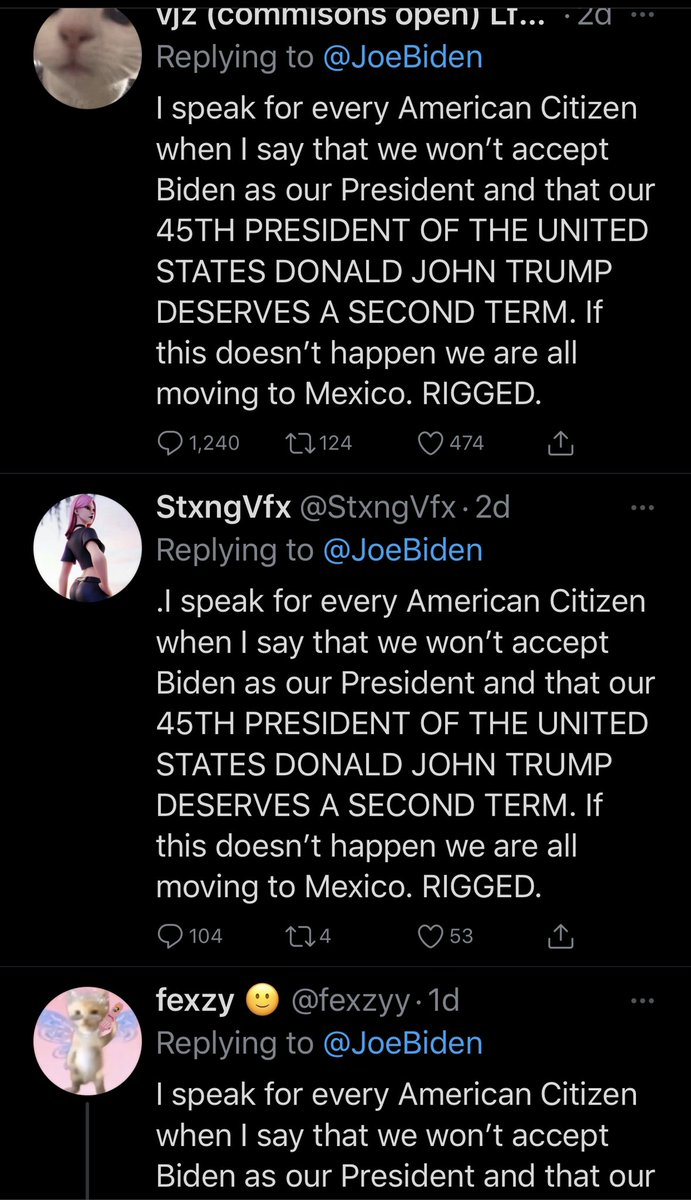 I'm assuming this is Russia doing everything they can to hold onto the damage and division they did with Trump. Bots are spamming Biden with a few copy and paste messages like this through a bunch of different accounts. #BanTrumpSaveDemocracy