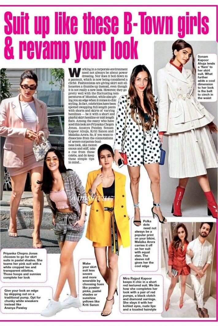 Suit up like these B-Town girls    & revamp your look   #PriyankaChopra #KritiSanon  #MalaikaArora #MiraRajput #AnanyaPanday #SonamKapoor  @kritisanon @ananyapandayy  @sonamakapoor  @priyankachopra @np_legacy