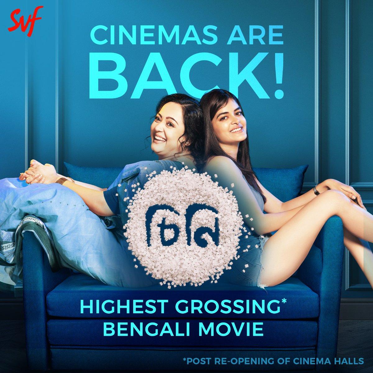 #Cheeni enters the 5th week as the biggest grossing Bengali movie post re-opening of cinema halls. #CinemasAreBack  @madhumitact @AdhyaAparajita @iamsaaurav @talkmainak @SVFsocial