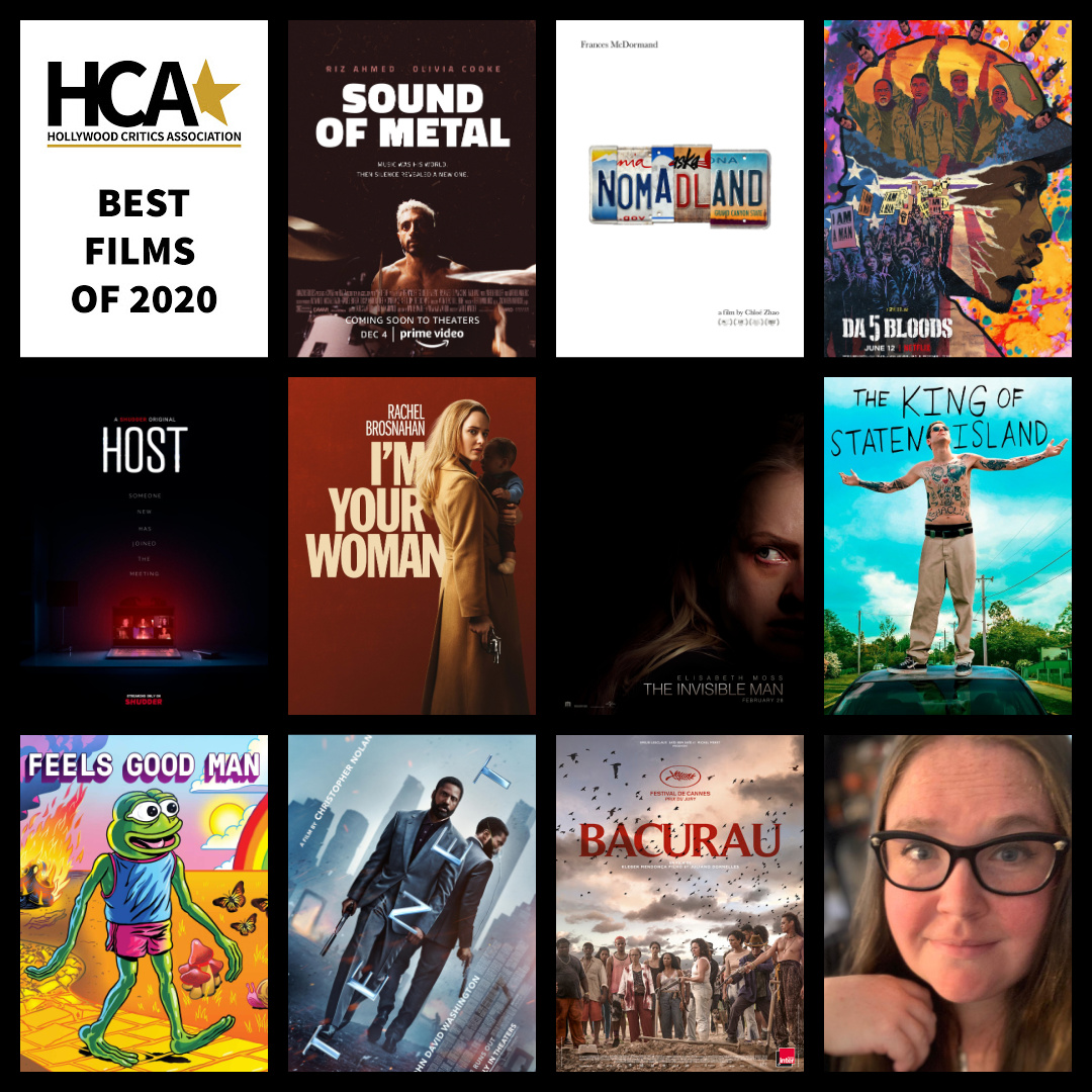 The best films of 2020 by Shannon McGrew (@shannon_mcgrew):  10. Bacurau  9. Tenet 8. Feels Good Man 7. The King of Staten Island 6. The Invisible Man 5. I'm Your Woman 4. Host 3. Da 5 Bloods 2. Nomadland 1. Sound of Metal  #HCA #Bestfilmsof2020 #SoundofMetal #Bestmoviesof2020