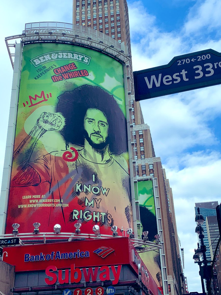 An iconic Billboard on 7th Ave. #NYC.  I always liked Ben & Jerry's Ice Cream. #powertothepeople #ColinKaepernick