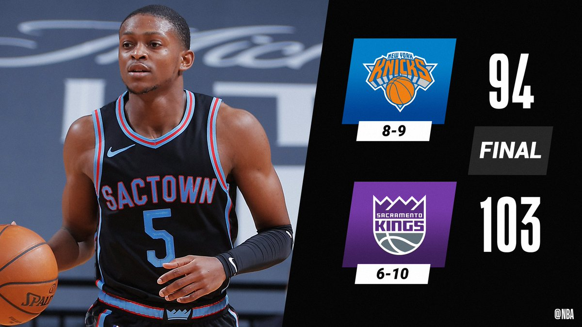 De'Aaron Fox (22 PTS, 7 AST) and the @SacramentoKings win at home.  Harrison Barnes: 21 PTS, 8 REB, 7 AST Tyrese Haliburton: 16 PTS, 4 BLK Richaun Holmes: 10 PTS, 14 REB, 6 BLK Julius Randle: 26 PTS, 15 REB