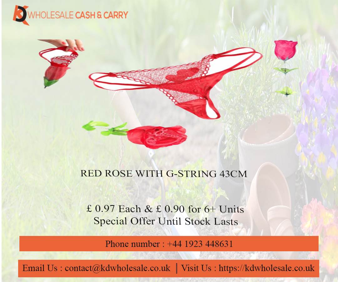 RED ROSE WITH G-STRING 43CM - KD Wholesale Cash & Carry    #valentine #love #heart #healthbeautycareproducts #babycare #accessories #kdwholesaleuk #BuyDecorLightingAccessoriesonlineinuk #KDWholesaleCashandCarry #gift #party #giftparty #giftideas #design