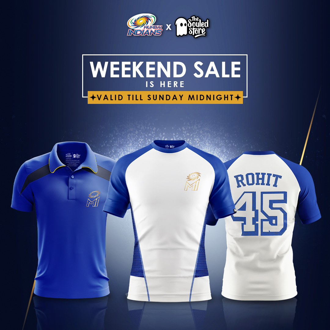 Wear it, flaunt it 😋💙  MI merchandise on sale for a limited time 👕  Head to 👉  and buy your own 😋  #OneFamily #MumbaiIndians @thesouledstore