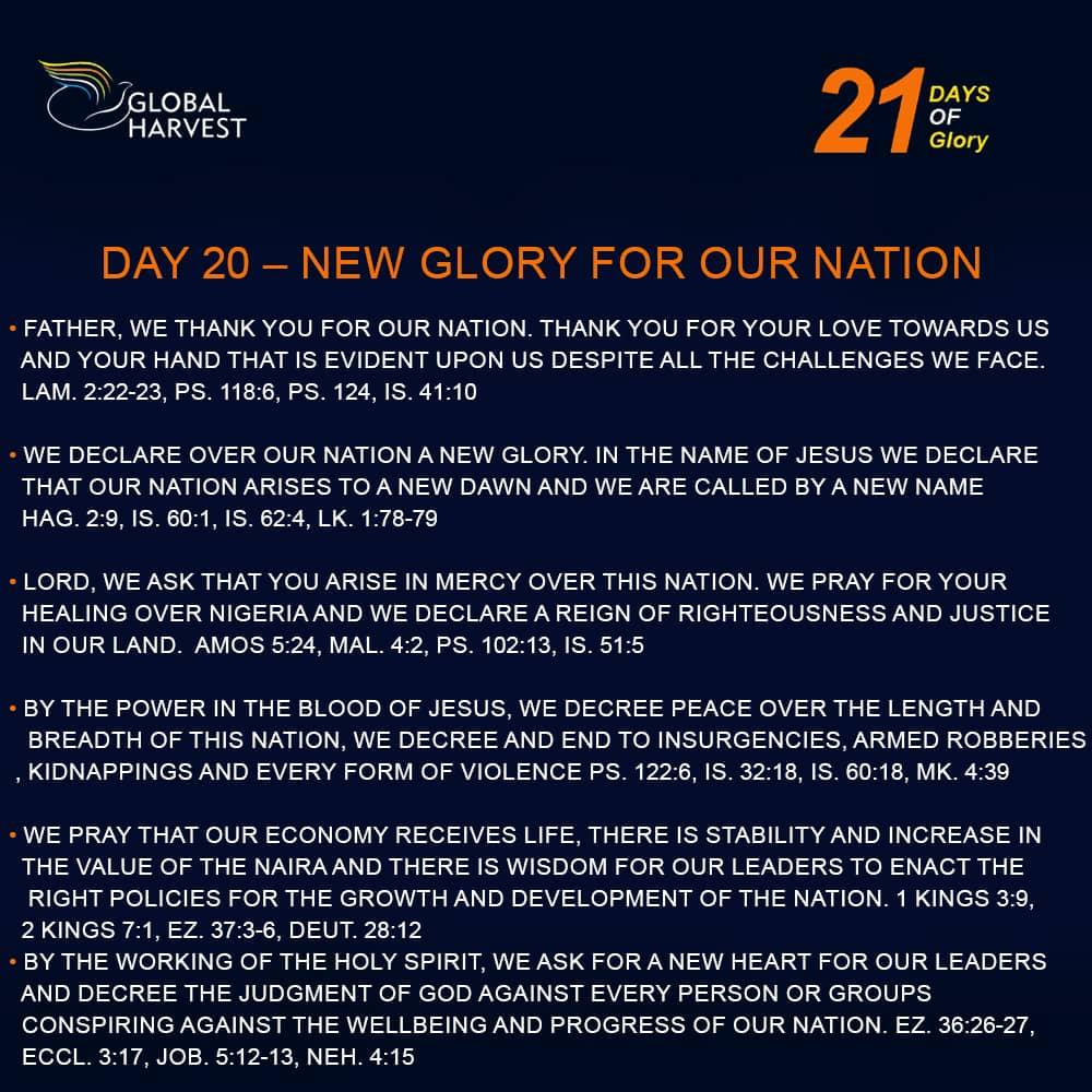 Prayer focus for day 20 of #21DaysofGlory!!!  #revvictoradeyemi  #jumoke_adeyemi  #GharvestChurch  #DiscoverPurpose  #Anewglory  #faith  #allthingsarepossible #happynewyear  #21daysofglory