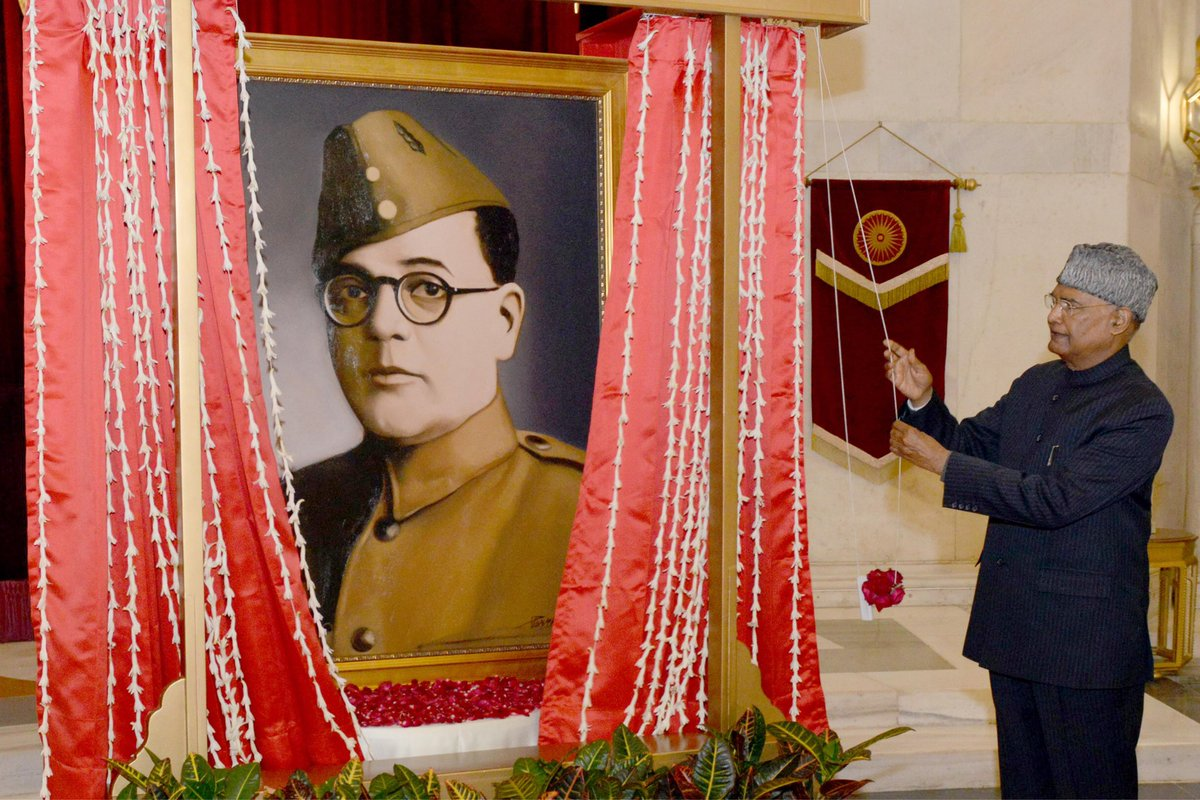 President Kovind unveils the portrait of Netaji Subhas Chandra Bose at Rashtrapati Bhavan to commemorate his 125th birth anniversary celebrations. https://t.co/Y3BnylwA8X