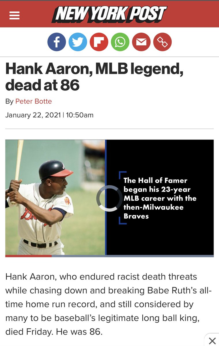 When #HankAaron and other #African #American #leaders invited #reporters to watch them receive #COVID-19 #immunization shots on #JANUARY 5th, the #baseball #legend said he did so to help spread the word to #millions that the #vaccine is #safe.