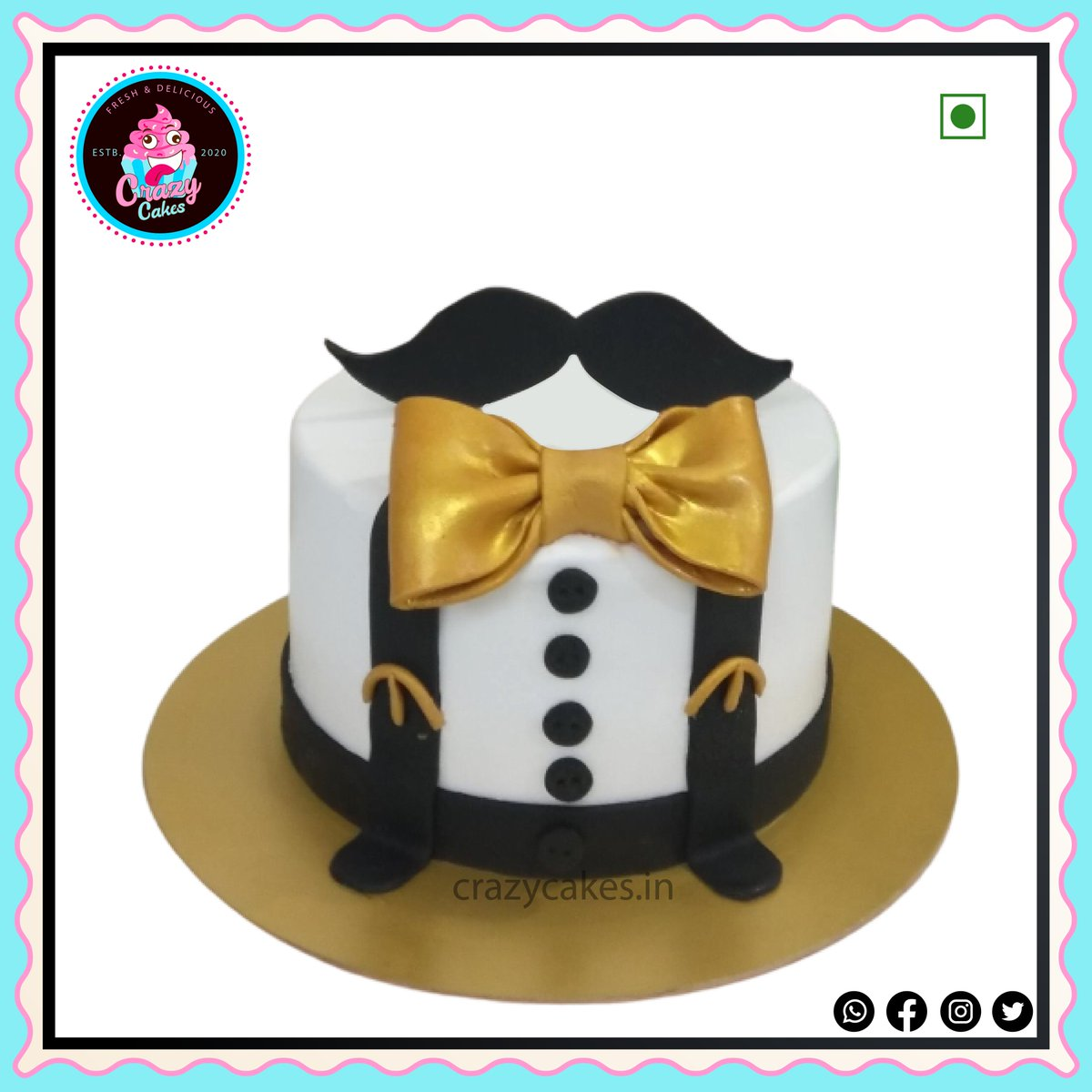 Tuxedo theme cake. DM to get your customized cake now. WhatsApp or Call +918983019702 #customizedcake #crazycakes #cakelover #100%eggless #party #Punecity #cc #delicious #facebook #cakeoftheday #cakedesigner #ordernow #photocake #instagram #fondantcake #follow #like Crazy Cakes.