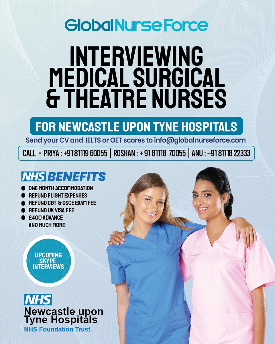 Global Nurse Force is recruiting nurses for Newcastle Upon Tyne Hospitals NHS Foundation Trust.  Nurses with Medical/Surgical & Theatre experience can apply for this post.  #NHS #SupportNurses #GlobalNurseForce #NursingJobsUK  #HealthcareHeroes #YourJob