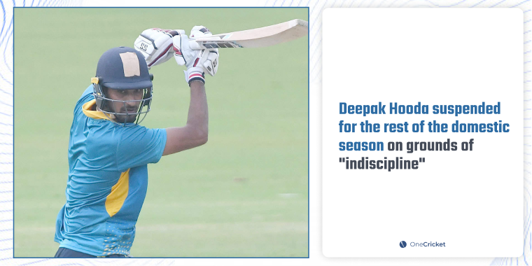 """""""It was decided by the Apex council that Deepak Hooda has caused disrepute to the organisation and will not be considered to represent Baroda in the current domestic season,"""" the BCA said in a media release.   #DeepakHooda #SyedMushtaqAliTrophy"""