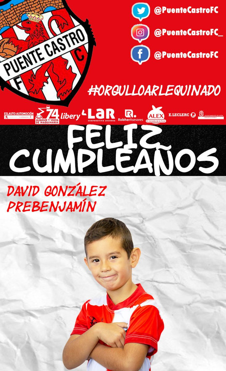 🎂 ¡FELIZ CUMPLEAÑOS!  📝 Hoy, 23 de enero, estamos de celebración con David González (Prebenjamín), que cumple 7️⃣ años.   #OrgulloArlequinado 🔴⚪ #VaPuenteVa #SomosFútbol #SomosFormación