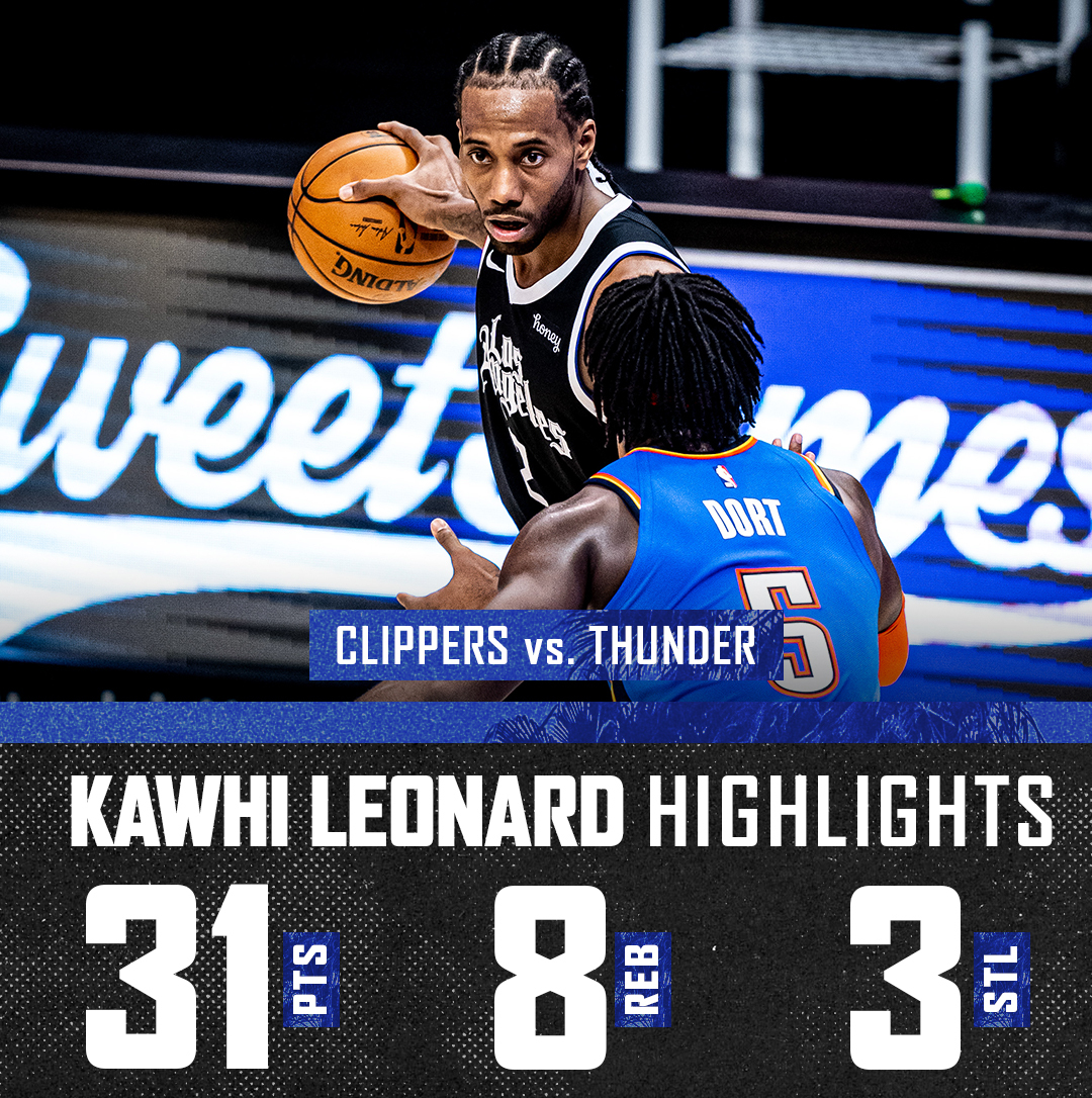 📊 31 PTS / 8 REB / 3 STL / 2 BLK  @kawhileonard led the way with his two-way play.