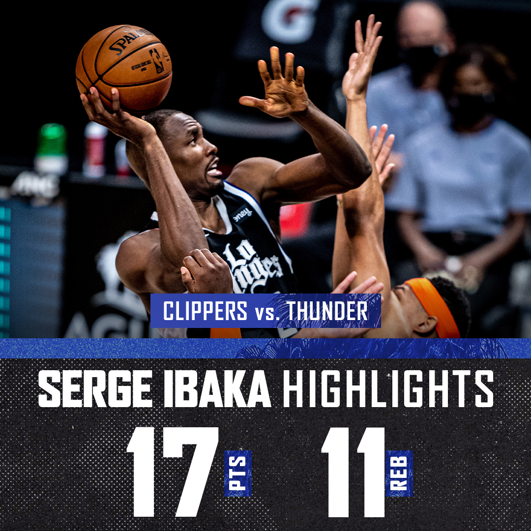 📊 17 PTS / 7-8 FG / 11 REB  @sergeibaka was a presence in the paint.