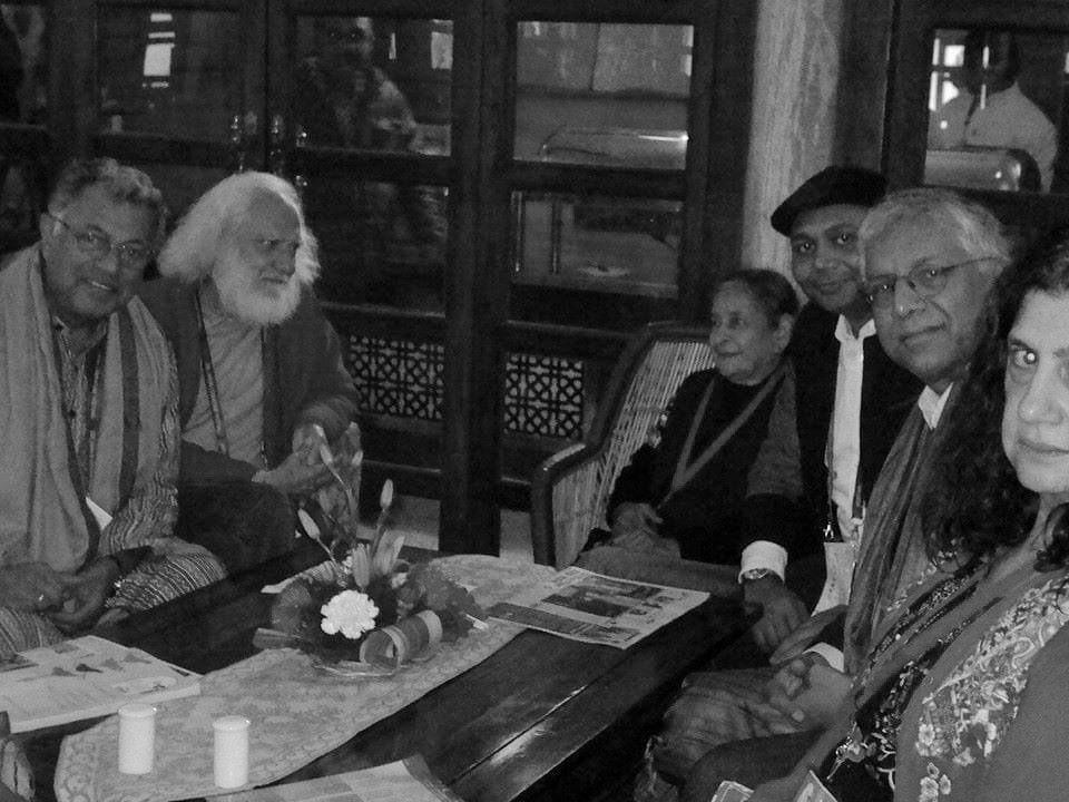 Memories of @JaipurLitFest : Girish Karnad, Arvind Krishna Mehrotra, Vandana Mehrotra, I, Vijay Seshadri and Suzanne Khuri #OTD in 2015 at JLF.