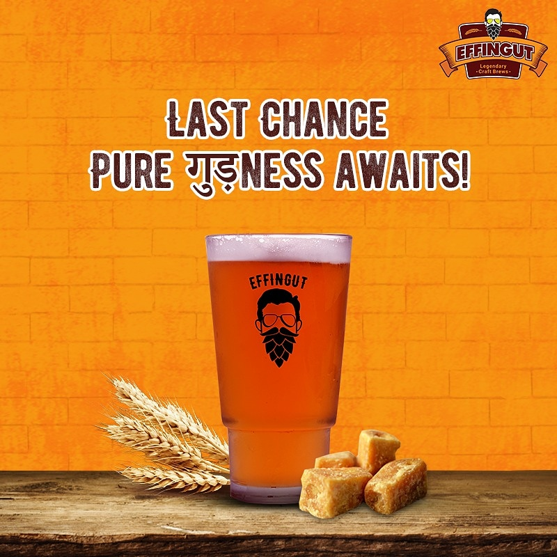 Last chance to get your hands on an Effin' गुड़ Lohri Festival special! 🍻  This fusion style brew is an exceptionally full-bodied character, imparted by its main ingredient - Jaggery. Effingudh's earthy flavour is sure to transport you back to sugar-cane plantations!🚜 https://t.co/Lvfits9VZ7