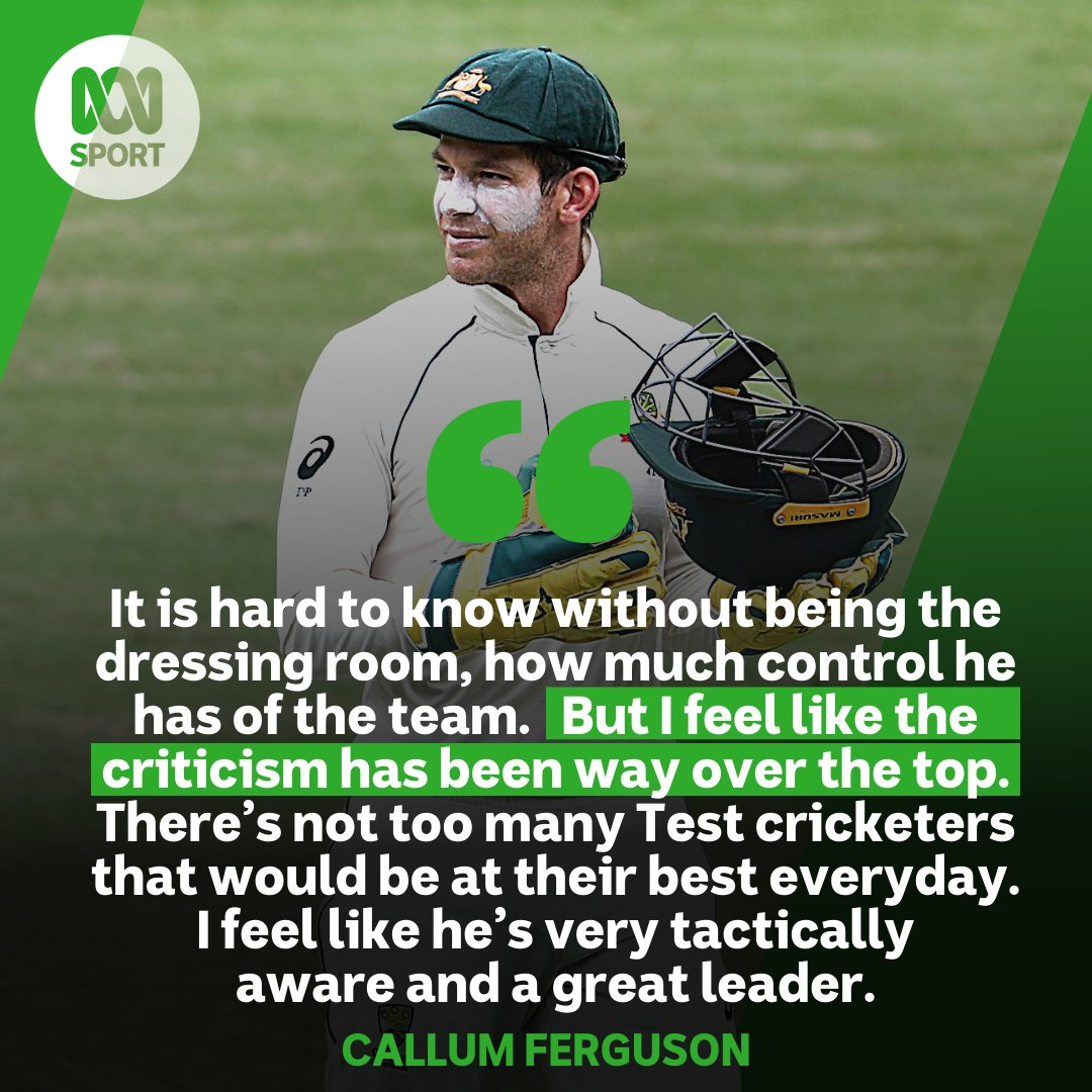 "🏏🏏 Despite so much criticism of Tim Paine, Callum Ferguson believes he is the right man for the job.  The @ThunderBBL captain joined @ClintWheeldon for the Grandstand Cricket Hour and said: ""You're allowed to get beaten by a better side.""  #AUSvIND #cricket"
