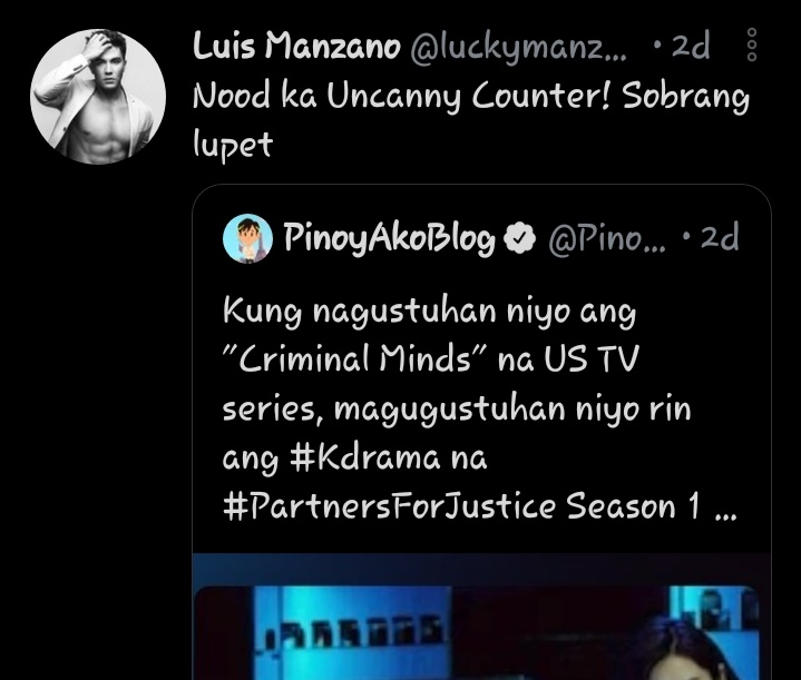 Filipino Actor, Model, Tv Host @luckymanzano Luis Manzano loving The Uncanny Counter and our Sejeong!😍 https://t.co/oy5hXN8prB