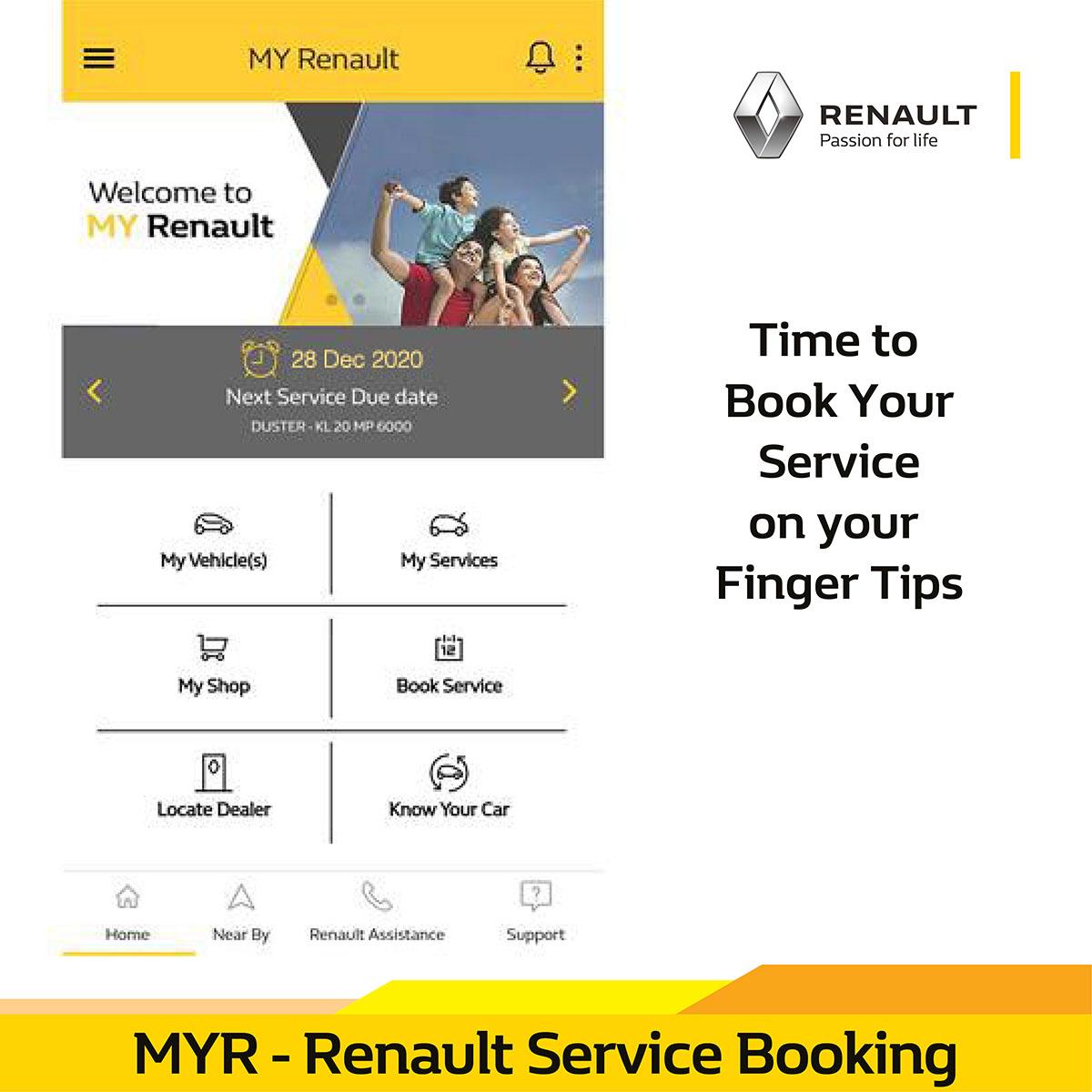 الآن يمكنك حجز موعد خدمة فقط بخطوات بسيطة من خلال إستخدامك تطبيق ماي رينو قم بحجز موعد خدمة وفقا للوقت/ التاريخ  والموقع المناسب لك  رينو #السيارات #المملكة العربية السعودية #السيارات #MYR  #MyRenault