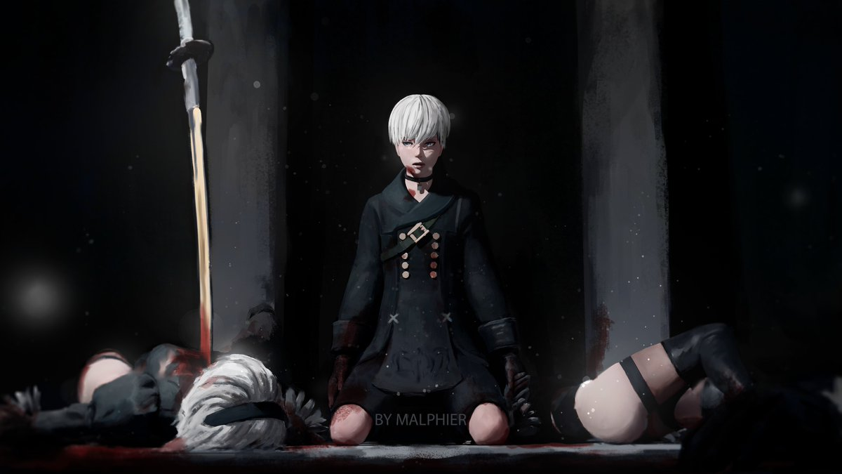 Ok, I am tired, and I still need to improve somethings, but I am satisfied for now. I don't usually make art with those dimensions. I will post a link to download it in 4k tomorrow, in case anyone wants it.  #NieRAutomata #NieR #NieRReplicant #NieR交換 #fanart