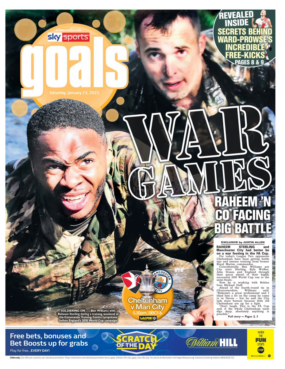 Our Goals pullout today leads on my chat with #BurnleyFC legend Michael Duff, who called in the same @RoyalMarines that helped Raheem Sterling & England for 2018 World Cup to turn Cheltenham around. Now #ManCity await |@ManCity @CTFCofficial #CTFC #FACup