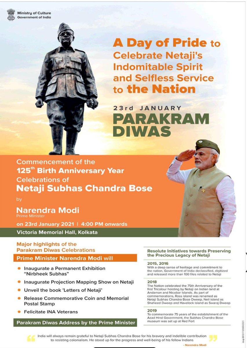 On the way to Kolkata to mark #ParakarmDivas and pay tributes to Netaji Bose.