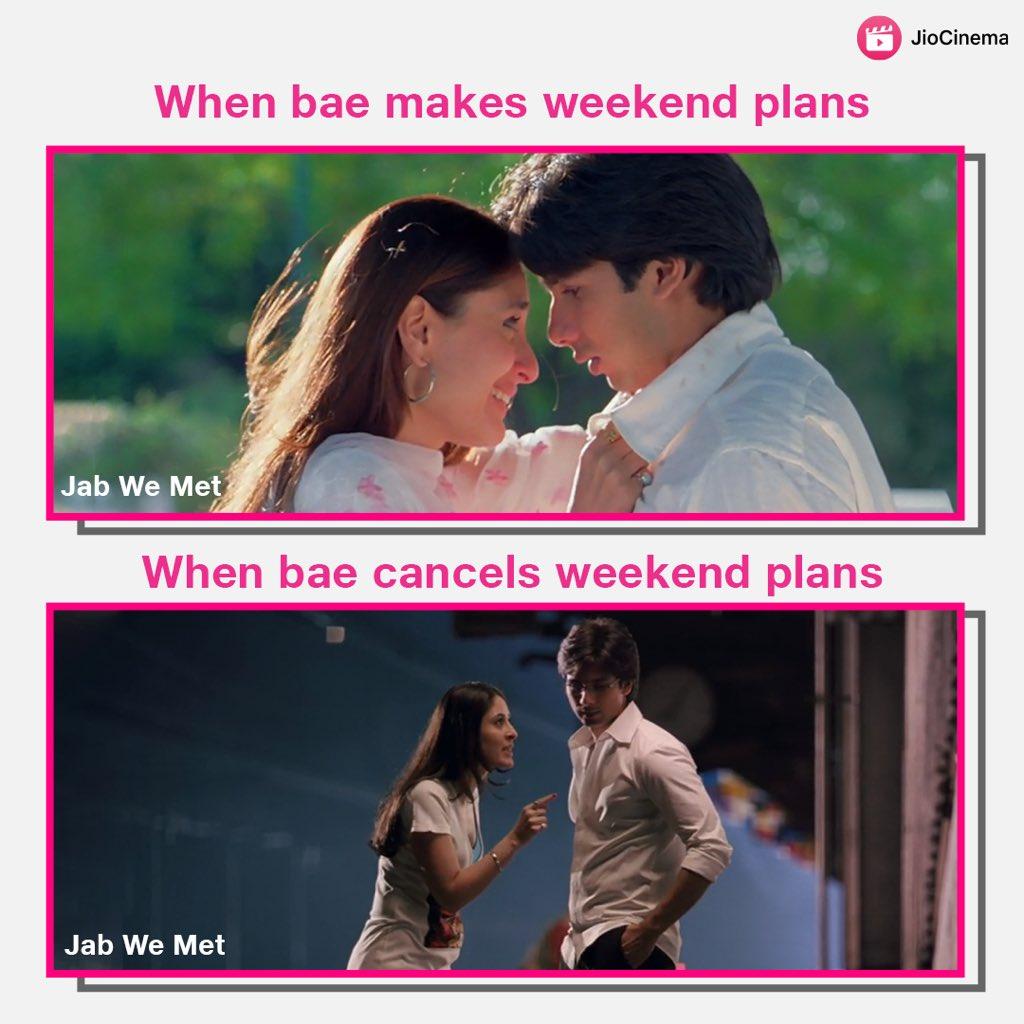 When bae says 'bye' to the #weekendplans 🥺😣😖  #kareenakapoor #shahidkapoor #jabwemet #SaturdayThoughts #weekendvibes