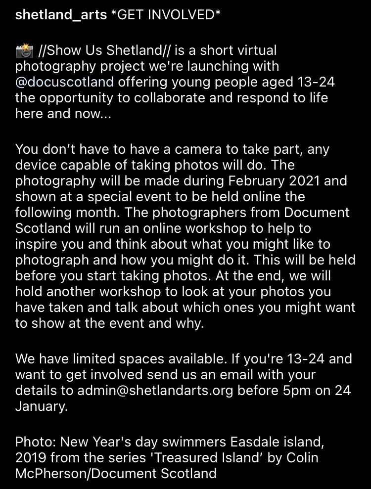 Are you based in #Shetland and aged between 13-24? Do you like #photography? We'd like to hear from you! @DocuScotland are collaborating with @ShetlandArts,  #ShowUsShetland is a collaborative project documenting daily life on #shetland email admin@shetlandarts.org by 24th Jan https://t.co/Qy9BySjIO6