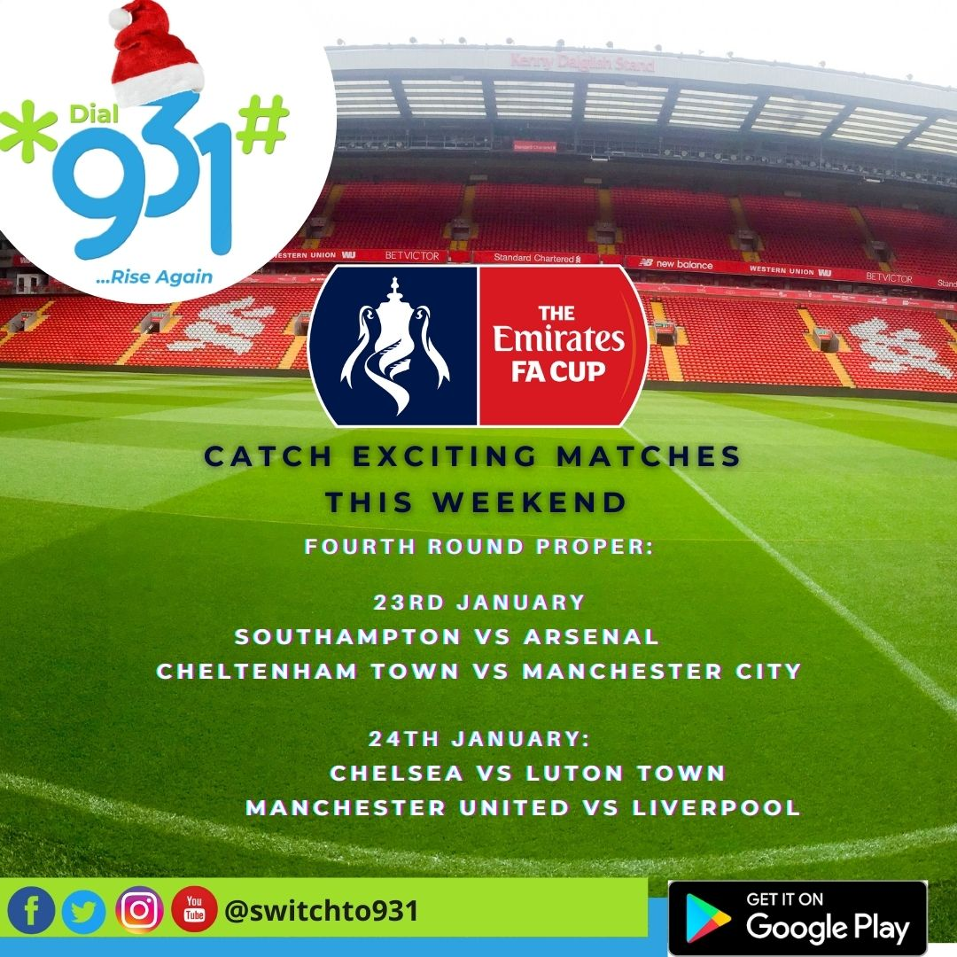GAME ON.. Don't miss out on the F.A Cup fourth round this weekend.  #facup #manchesterunited #arsenal #chelsea #manchestercityfc #manchestercityvsmanchesterunited #weekend #love #saturdayvibes #weekendvibes #photooftheday #follow #saturdaymood #fun #smile #instadaily #goodvibes