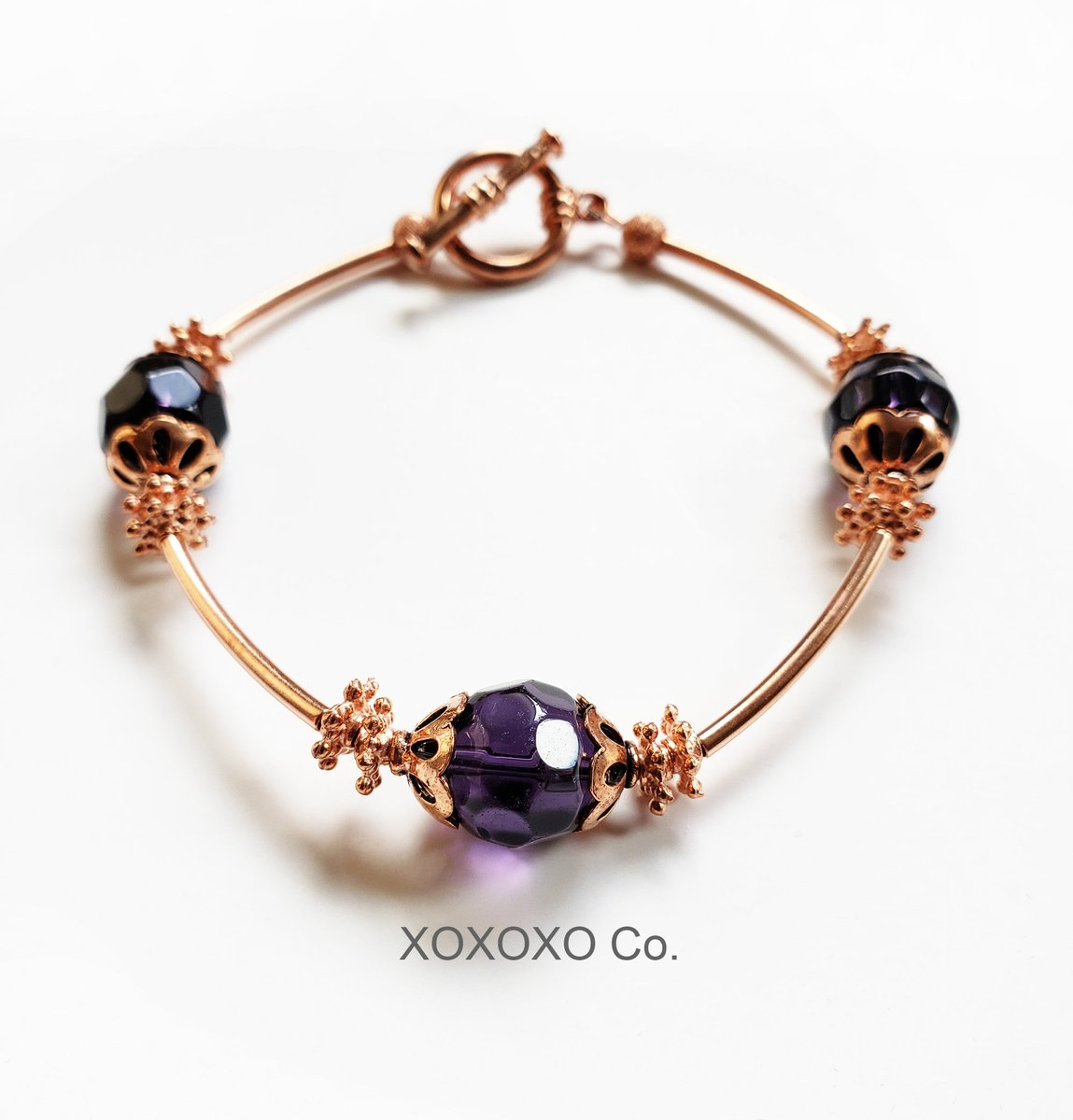Copper Bracelet with Purple Beads and Toggle Clasp  #christmasgifts #giftsforher #fashion #shopsmall #Etsy #jewelryblogger #handmade #style #handmadejewelry