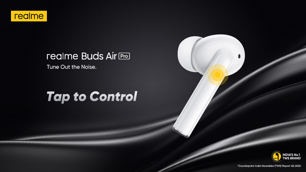 One tap is enough! #realmeBudsAirPro Get it in the #RealpublicSale, ending tomorrow.