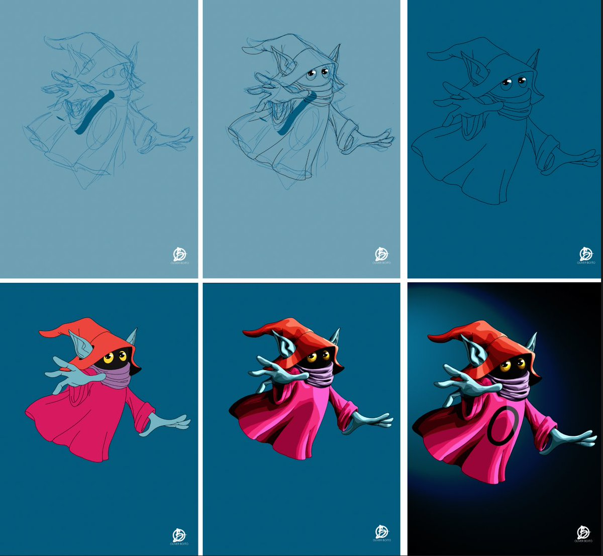 Stages snapshots of my Orko Illustration. #MastersoftheUniverse #motudrawingchallenge #heman @MastersOfficial #orko