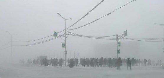 Pro-Navalny protests in Yakutsk, via @Andrew__Roth   Temperature in Yakutsk right now: -52C.