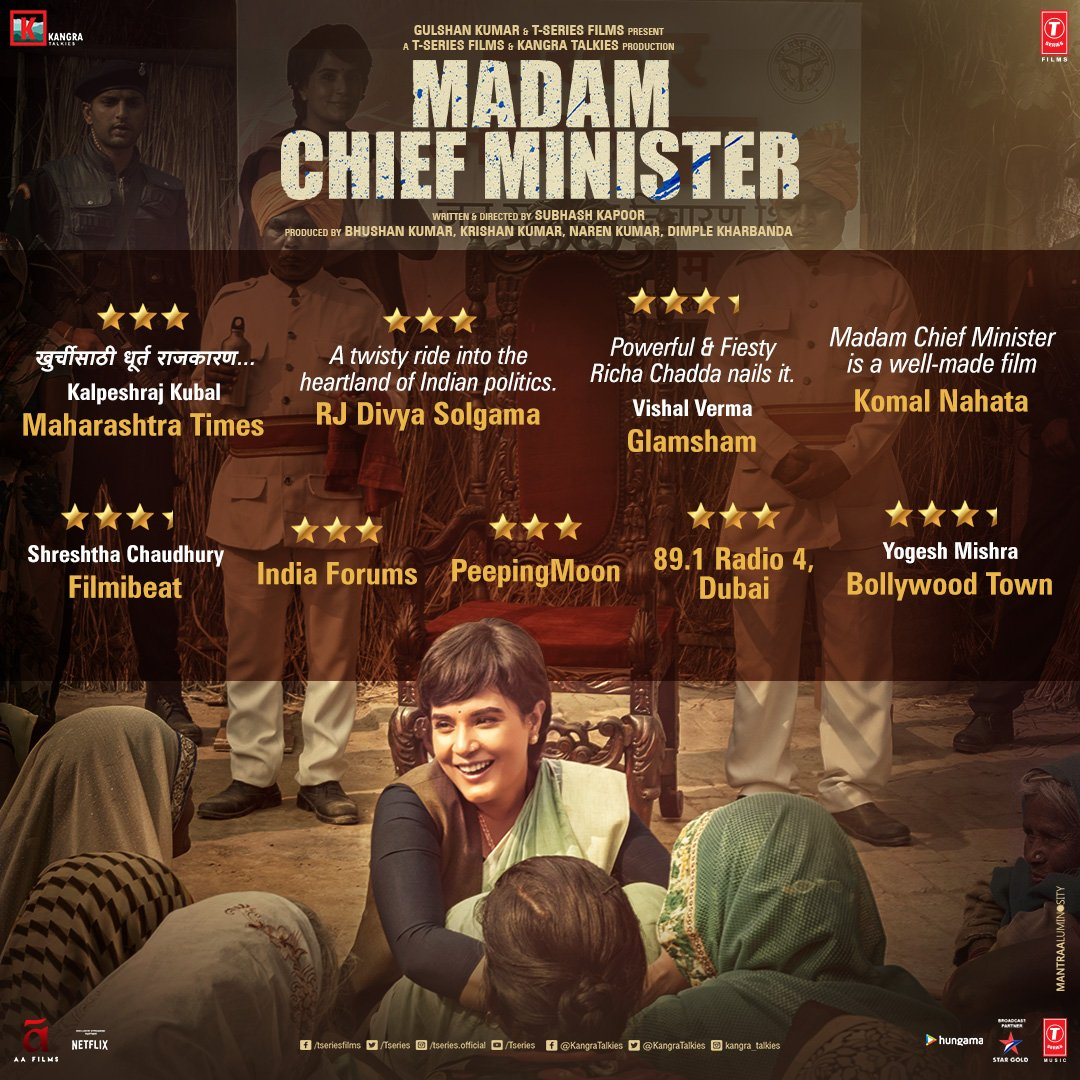 Have you watched the biggest political drama of the season yet?  Now Showing at INOX: #MadamChiefMinister Book Tickets Now:   @RichaChadha @saurabhshukla_s @TSeries @subkapoor @jollynarenkumar @dkh9 @Akshay0beroi #INOX