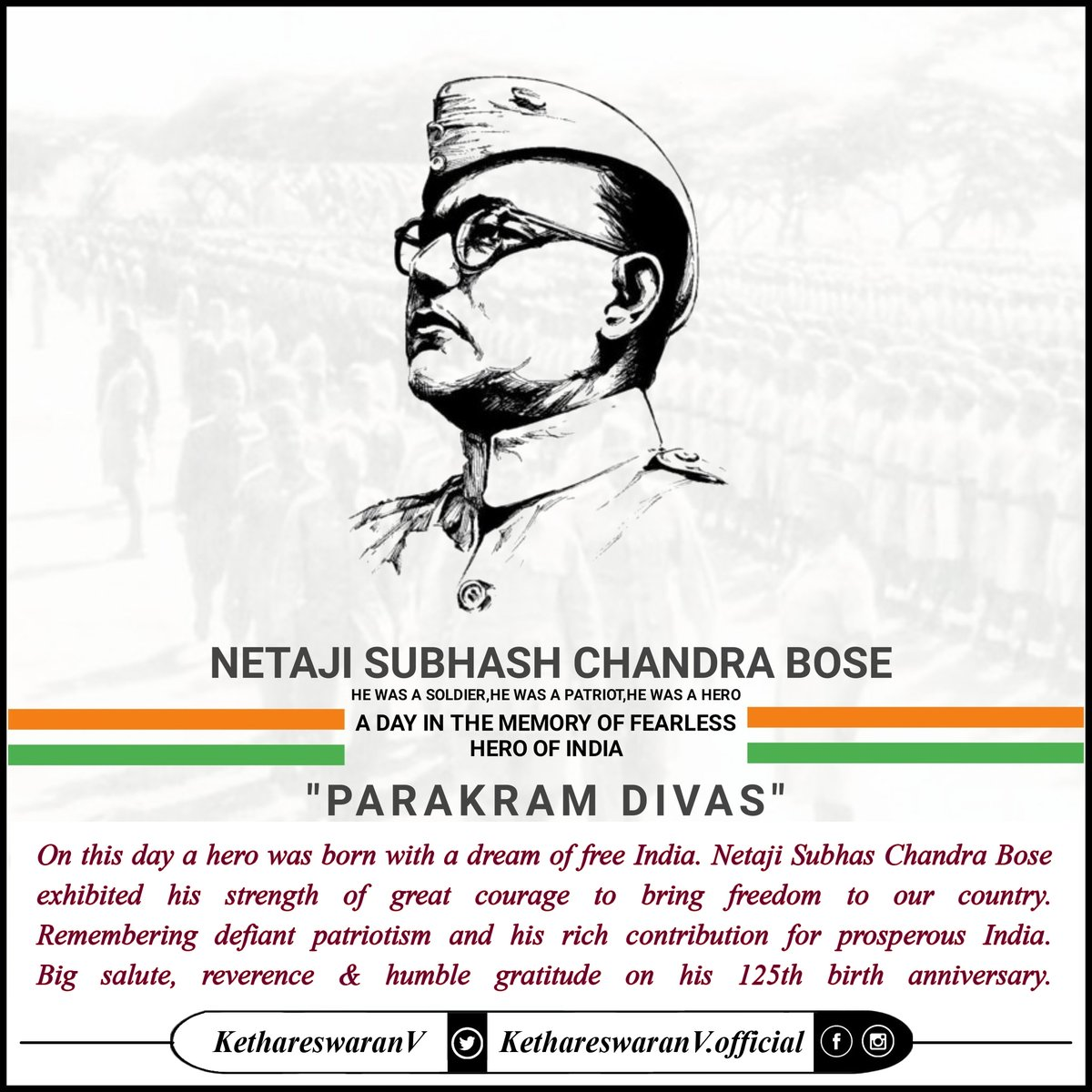 Remembering the brave son of Mother #India #नेताजी #NetajiSubhasChandraBose a devout #Patriot, #Hero, #FreedomFighter & Founder #AzadHindFauj on his 125th birth anniversary #ParakramDivas #पराक्रम_दिवस. Ever grateful for his vision & leadership in our #freedom struggle. #JaiHind