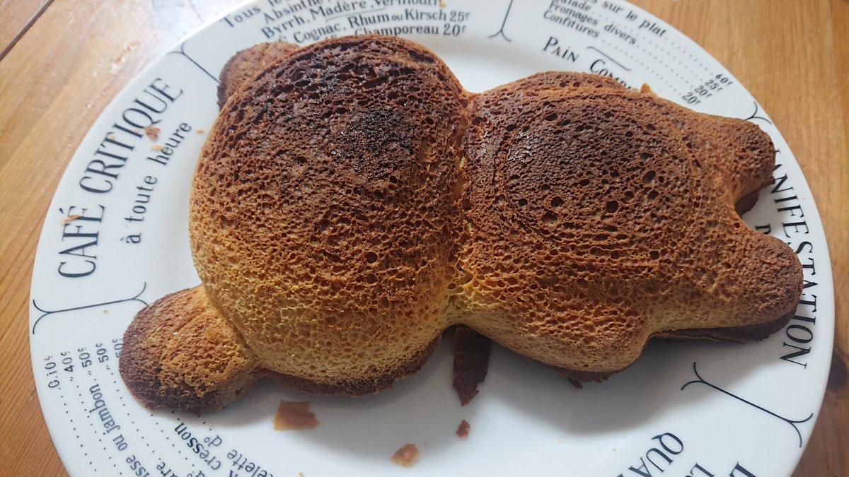 リラックマの型でホットケーキ焼いたんだけど…  なにこの焼死体… https://t.co/NCnngrCcsy
