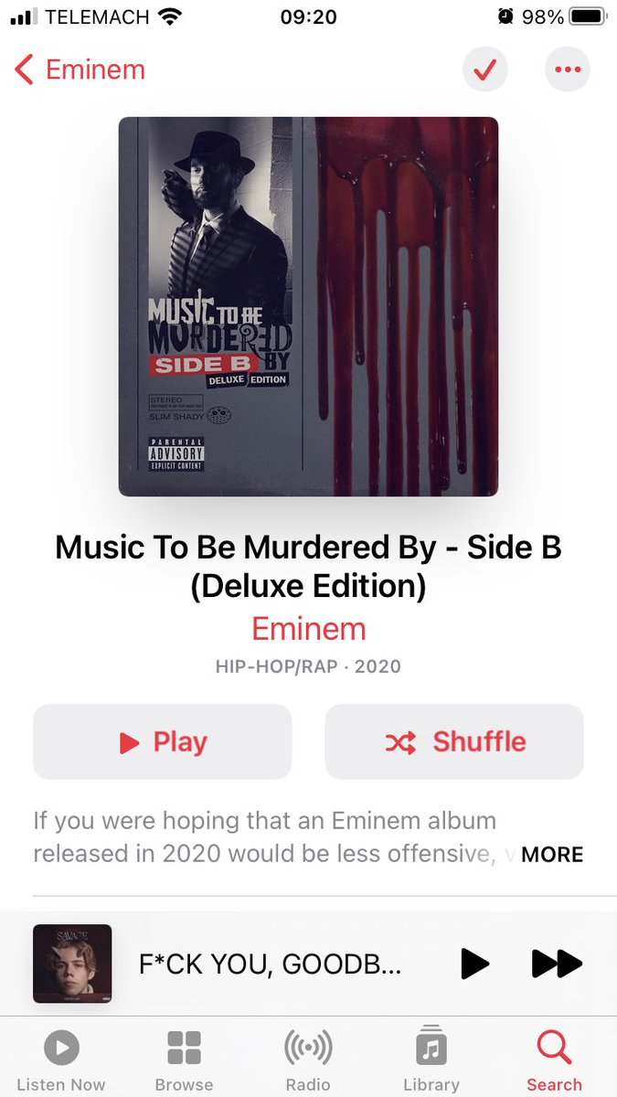 Music to be murdered by (deluxe) is a no-skip album... @Eminem the 🐐#OnGod #MTBMB