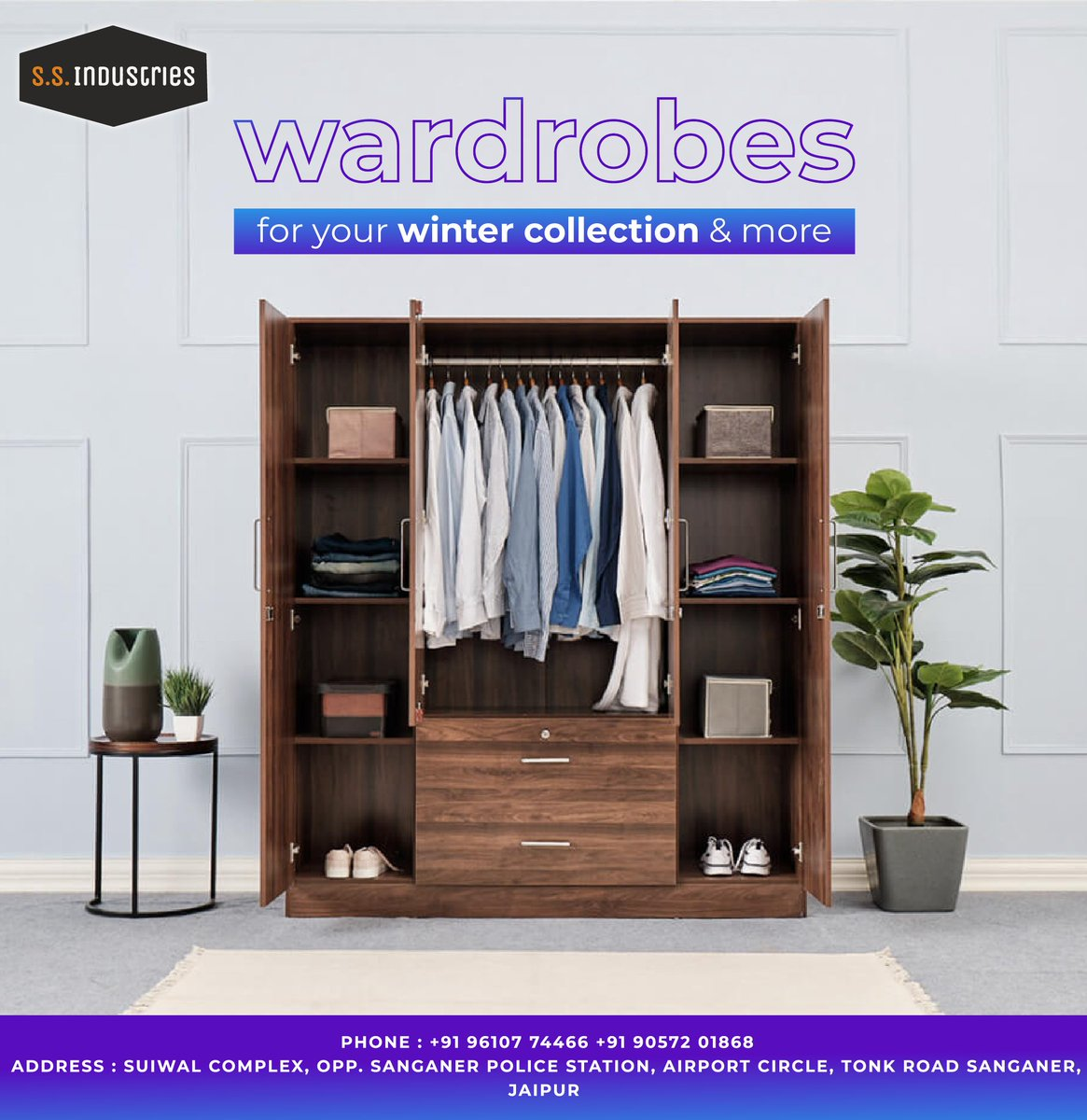 The clothes that keep you safe,  need a safe house too. . . . .  Visit us -   #wardrobes #cabinets #interiordesign #jaipur #industrialproducts  #interior #furnituredesign #decoration #livingroom #design #chair #luxuryfurniture #home #woodworking #decor #art