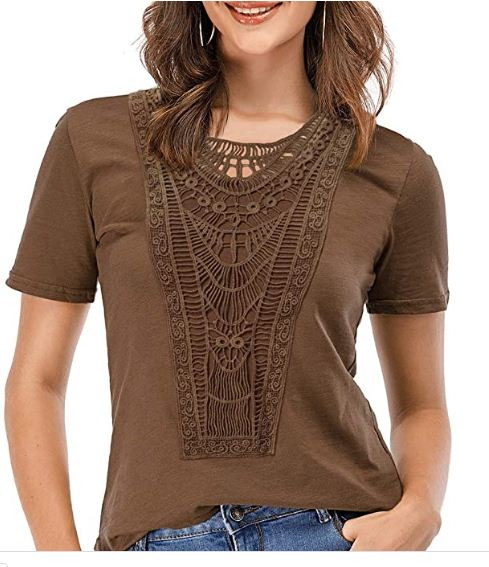 zeyubird Sexy Lace Tops for Women Casual Hollow Out Short Sleeve Shirts for Women Tshirts Tees   @Suns @Booker #EUPHORIA @Cavs @So_Facebook