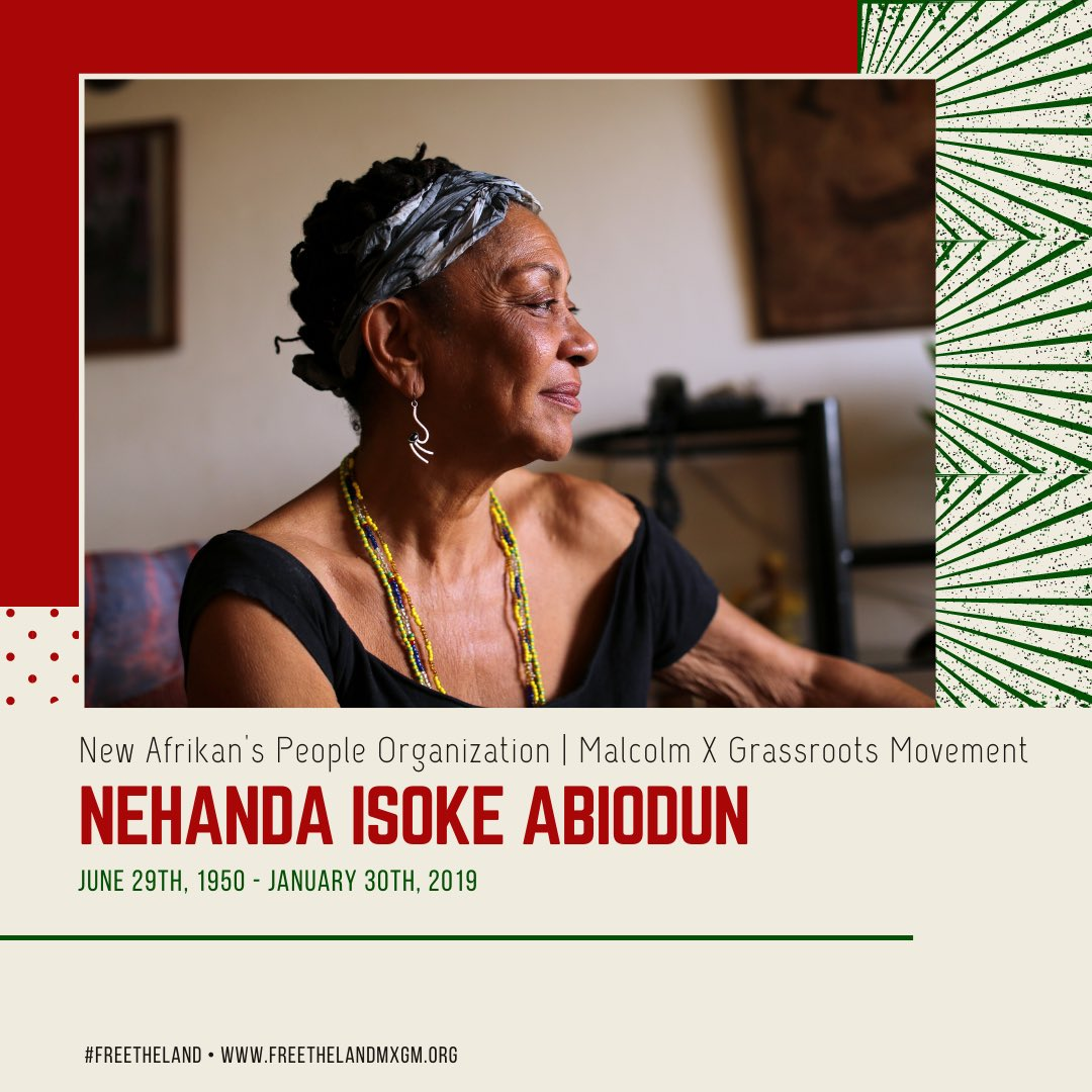 (1/3)Today marks the 2nd anniversary of the ancestral transition of our beloved Mama #NehandaAbiodun. As a founder of NAPO & MXGM, her life was a commitment to the self-determination & national liberation of New Afrikan | Black people & oppressed people all over the world.
