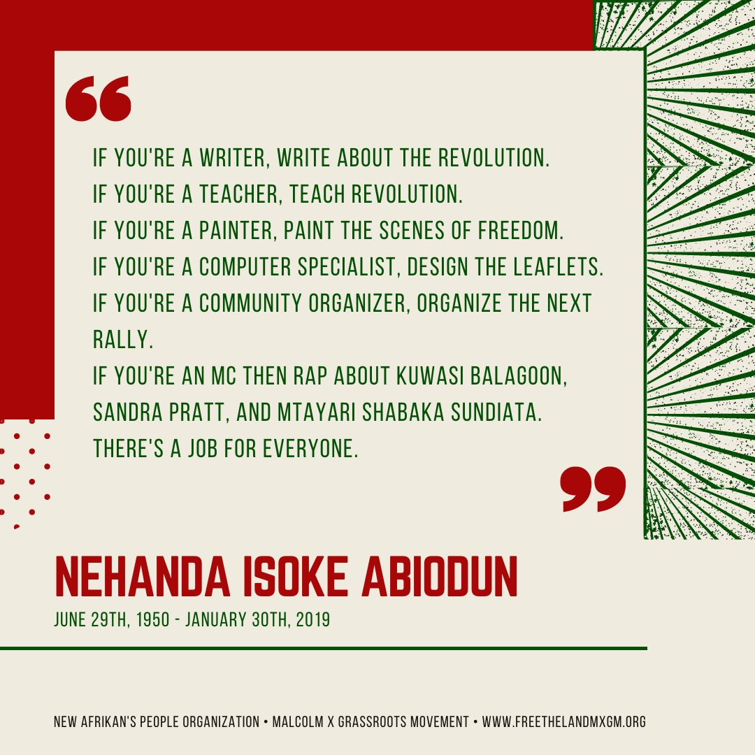 (2/3) Mama #NehandaAbiodun believed that everyone has a role in our revolutionary struggle for liberation. This is your invitation. Pour libation, cry tears, sing songs, refresh alters and pass the eight bowls. Long live the spirit of Nehanda Abiodun! Ase. Ase. Aseooo.