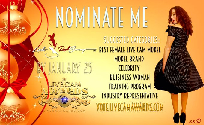 LAST DAYS!  Nominations @LiveCamAwards are still open until Jan 25. You can nominate me here: 