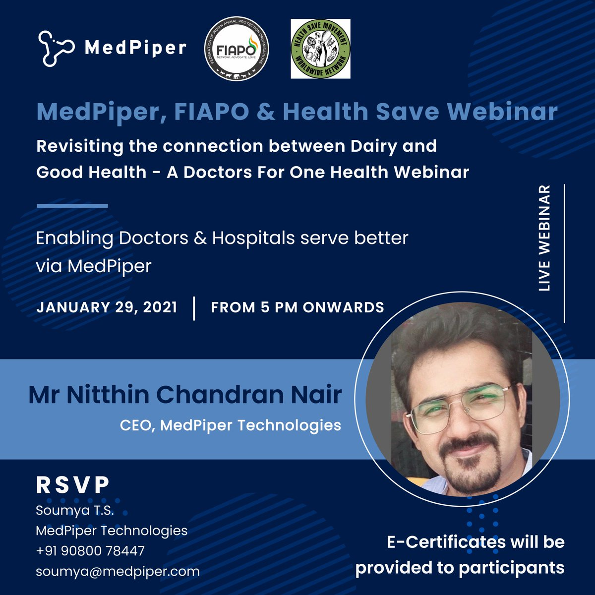 """Webinar on """"Revisiting the connection between Dairy and Good Health"""" ; Date 29 January , Friday , 5 Pm soumya@medpiper.com / 90800 78447  Register link for the webinar:   #Medpiper #fiapo #healthcare #doctorsmeet #diaryindustry #animalcare #repost"""
