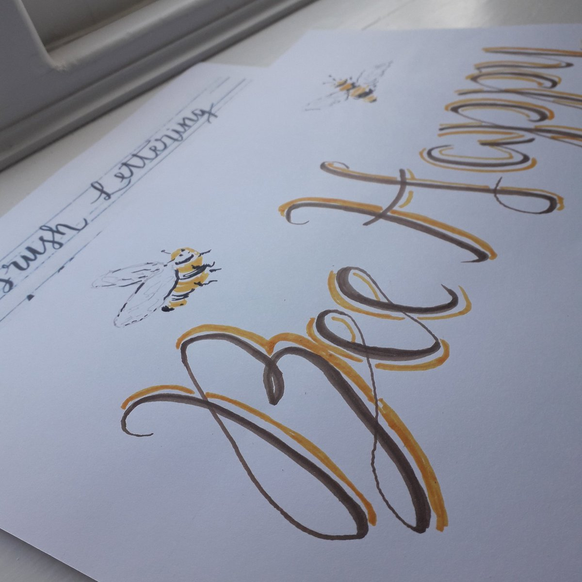 Happy #nationalhandwritingday! I enjoyed a lovely free brush lettering online class from The Artery Art Shop and Classes this morning! I've not got it right yet (I lost focus so the shadowing etc needs to be more consistent) but had great fun! Thanks! #LymphomaLass xx #beehappy