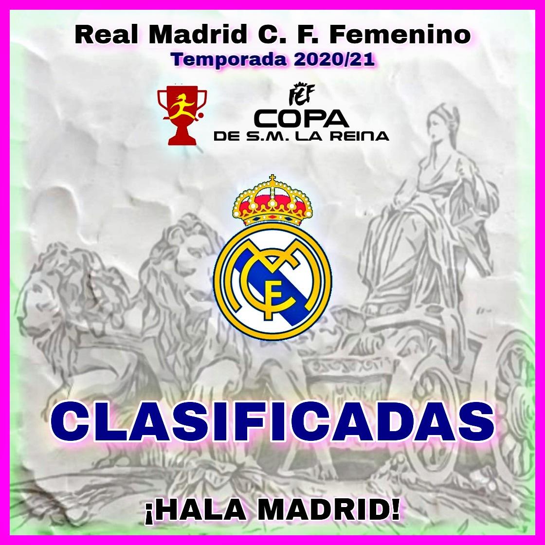 Las chicas del #RealMadridCFFem estan clasificadas para la #CopaDeLaReina 😍💪 #HalaMadrid🤍🤍