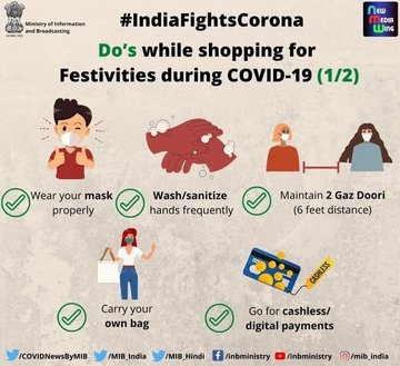 #IndiaFightsCorona:  📍Do's and Don'ts while shopping for festivities during #COVID19    #StaySafe #IndiaWillWin #Unite2FightCorona